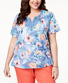 Alfred Dunner Plus Size Sun City Floral-Print Lace-Appliqué T-Shirt