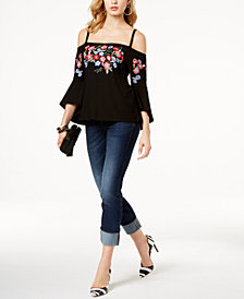 I.N.C. Cold-Shoulder Top & Cropped Jeans, Created for Macy's