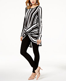 I.N.C. Striped Twist-Front Tunic & Skinny Jeans, Created for Macy's
