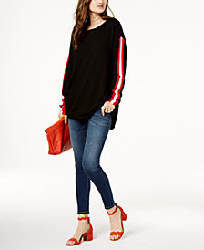 I.N.C. Striped-Sleeve Boat-Neck Sweater & Stretch Skinny Jeans, Created for Macy's
