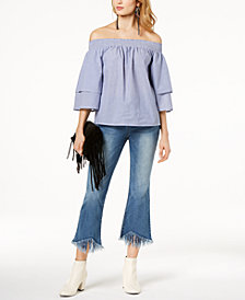I.N.C. Cotton Off-The-Shoulder Top & Cropped Fringe-Trim Jeans, Created for Macy's
