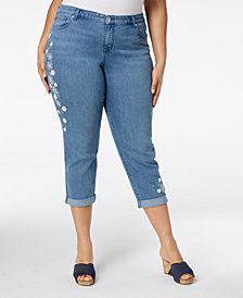 Style & Co Plus Size Darling Daisy Embroidered Cropped Jeans, Created for Macy's