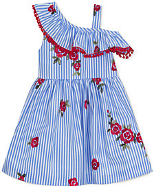 Rare Editions Floral-Embroidery Striped Dress, Big Girls