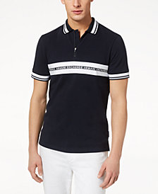 A|X Armani Exchange Men's Logo Striped Zip Polo, Created for Macy's