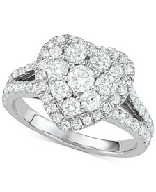 Diamond Heart Cluster Engagement Ring (1-1/2 ct. t.w.) in 14k White Gold