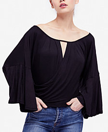 Free People Last Time Draped Bell-Sleeve Top
