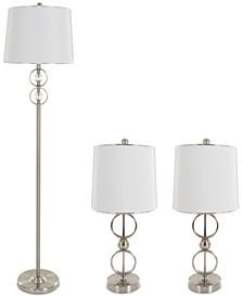 Set of 3 Steel Lamp Set