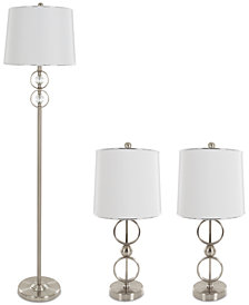 Lavish Home Set of 3 Steel Lamp Set