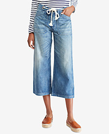 Polo Ralph Lauren Wide-Leg Cropped Cotton Jeans