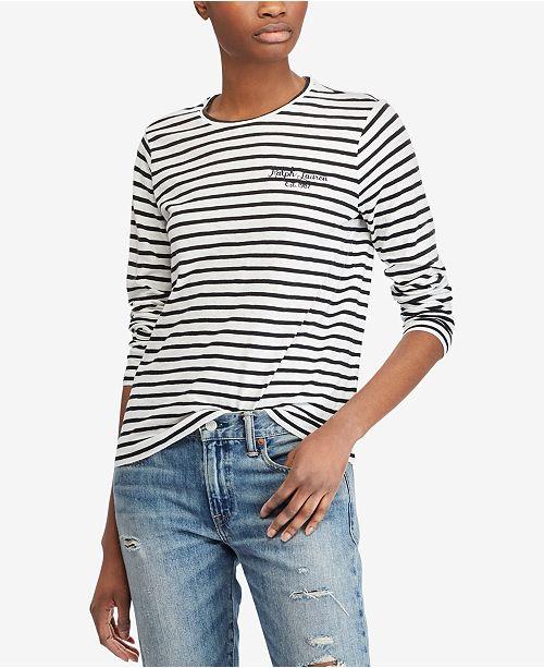 de0aacc92 Polo Ralph Lauren Striped Long-Sleeve Cotton T-Shirt   Reviews ...