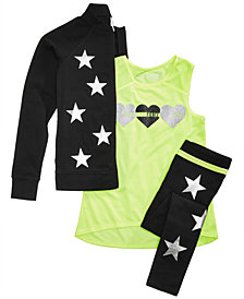 Ideology Star Jacket, Mesh-Detail Tank & Leggings, Big Girls, Created for Macy's