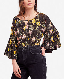 Free People Last Time Printed Draped Bell-Sleeve Top