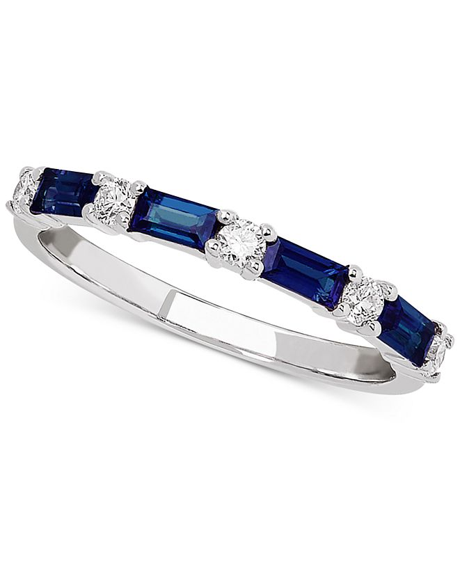 Macy's Sapphire (5/8 ct. t.w.) & Diamond (1/5 ct. t.w.) Band in 14k White Gold (Also Available in Emerald and Certified Ruby)