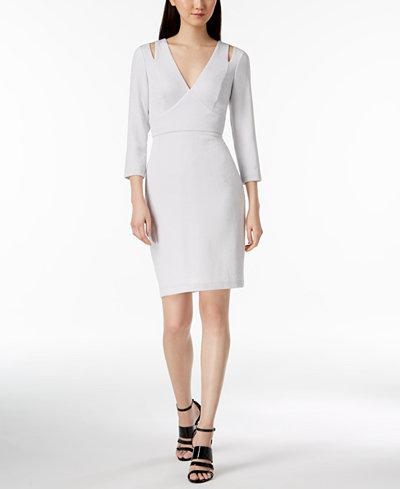 Calvin Klein Shimmer Shoulder-Cutout Dress
