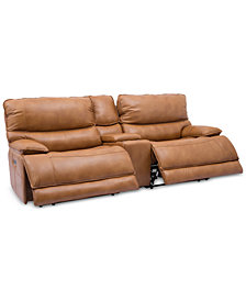 "CLOSEOUT! Woodyn 135"" 3-Pc. Leather Power Reclining Sofa With 2 Power Recliners, Power Headrests, Lumbar, Console And USB Power Outlet"