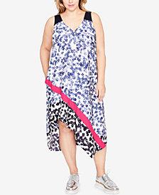 RACHEL Rachel Roy Trendy Plus Size Printed Asymmetrical Dress