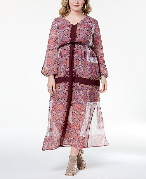 5f660f33e33 Monteau Trendy Plus Size Cutout-Sleeve Maxi Dress - Dresses - Plus ...