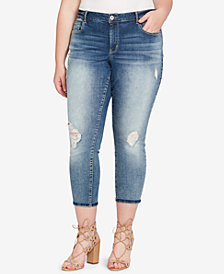 Jessica Simpson Trendy Plus Size Ripped Cropped Jeans