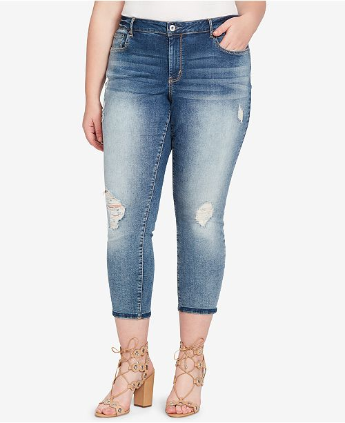Jessica Simpson Trendy Plus Size Forever Rolled Ankle Skinny Jeans