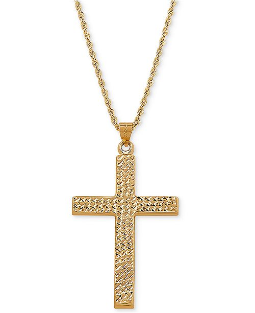 """Macy's Textured Cross 20"""" Pendant Necklace in 14k Gold"""