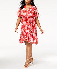 I.N.C. Plus Size Faux-Wrap Kimono Dress, Created for Macy's