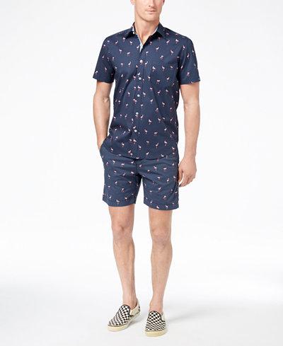 Con.Struct Men's Flamingo-Print Shirt & Shorts Separates, Created for Macy's