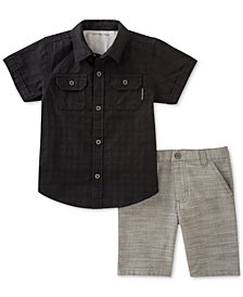 Calvin Klein 2-Pc. Woven Cotton Shirt & Shorts Set, Toddler Boys