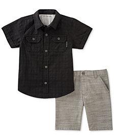 Calvin Klein 2-Pc. Woven Cotton Shirt & Shorts Set, Little Boys