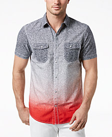 I.N.C. Men's Dip-Dyed Heathered Shirt, Created for Macy's