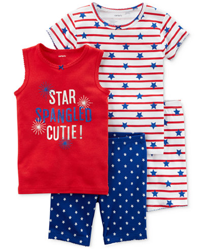Carter's 4-Pc. Printed Cotton Pajamas Set, Baby Girls