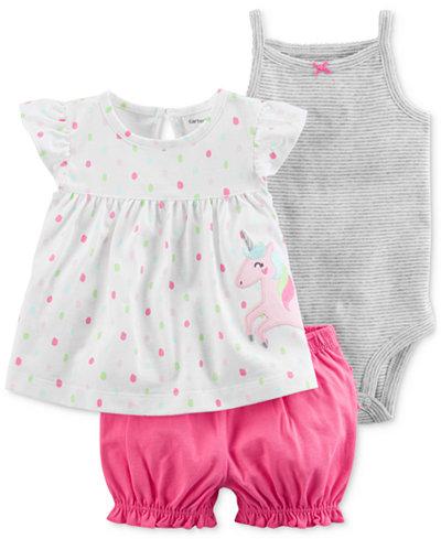Carter's 3-Pc. Cotton Tunic, Bodysuit & Shorts Set, Baby Girls