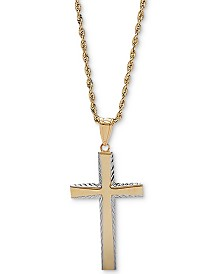 "Two-Tone Edged 20"" Cross Pendant Necklace in 14k Gold"