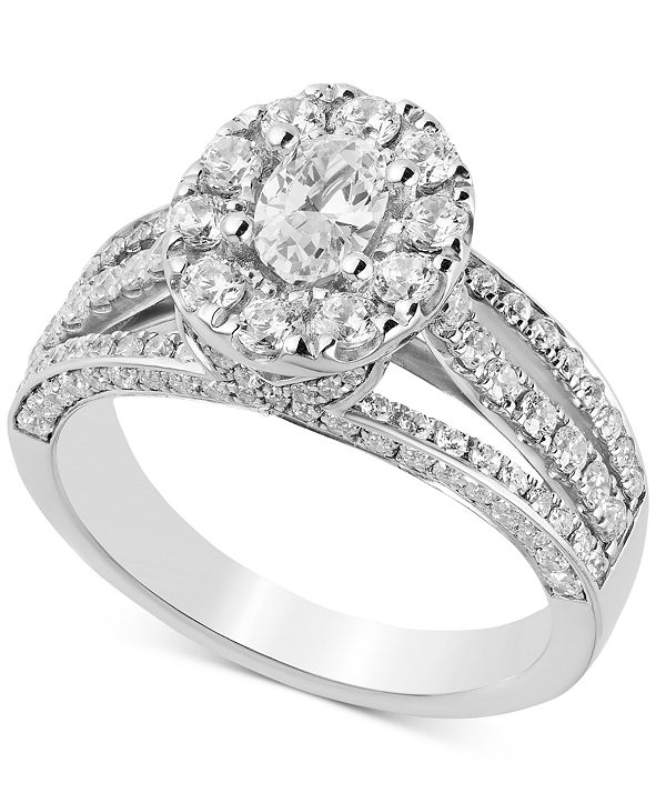 Macy's Diamond Oval Halo Engagement Ring (1-3/4 ct. t.w.) in 14k White Gold