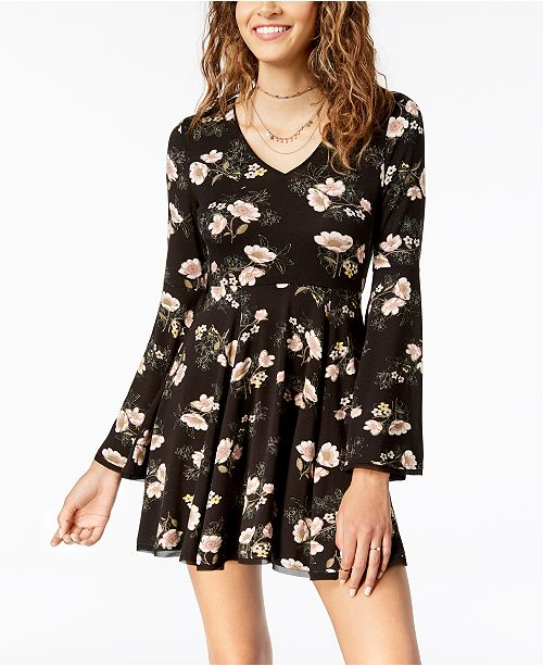 4cfbd8e783e ... American Rag Juniors  Floral-Print Fit   Flare Dress