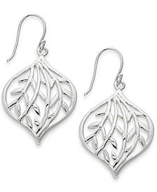 Medium Silver Plated Openwork Leaf Drop Earrings
