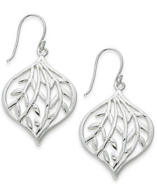 Essentials Medium Silver Plated Openwork Leaf Drop Earrings