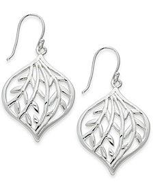 Essentials Medium Silver Plated Openwork Leaf Drop Earrings