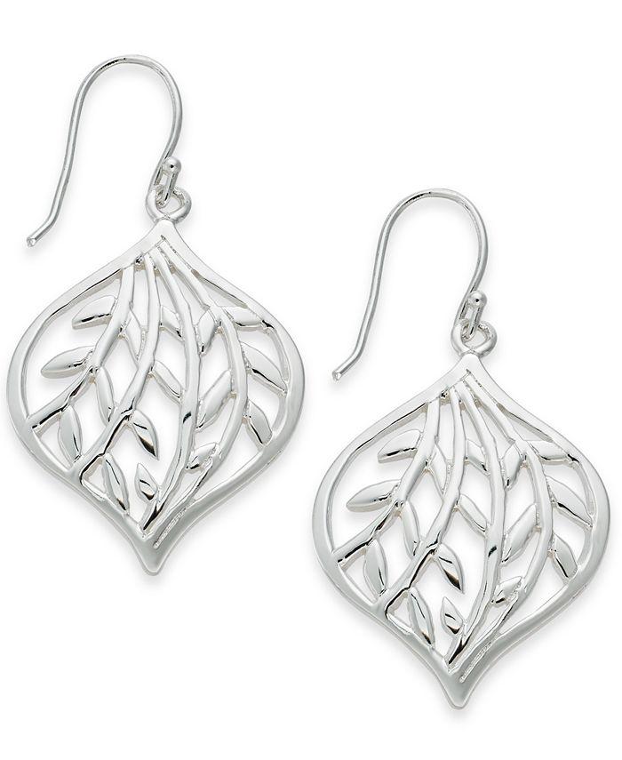 Essentials - Openwork Leaf Drop Earrings in Fine Silver-Plate