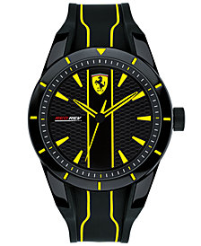 Ferrari Men's Red Rev Black Silicone Strap Watch 44mm