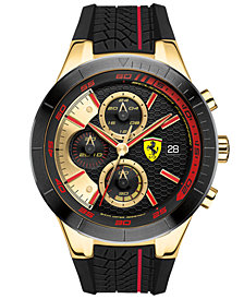 Ferrari Men's Red Rev Evo Chronograph Black Silicone Strap Watch 46mm