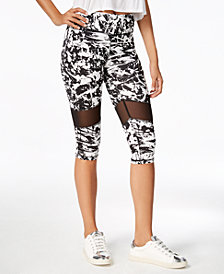 Material Girl Active Juniors' Printed Illusion Cropped Leggings, Created for Macy's