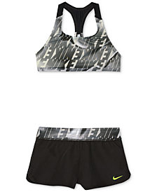Nike 2-Pc. Racerback Top & Shorts Bikini Swimsuit, Big Girls