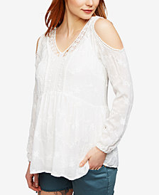 Daniel Rainn Maternity Lace Cold-Shoulder Top