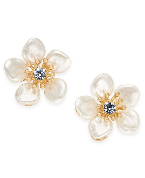 Gold Tone Crystal Imitation Pearl Flower Stud Earrings