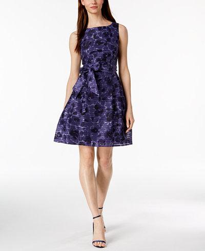 Anne Klein Printed Fit & Flare Dress