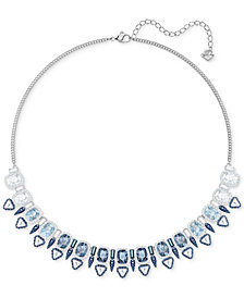 "Swarovski Silver-Tone Clear & Color Crystal Choker Necklace, 14-3/4"" + 2"" extender"