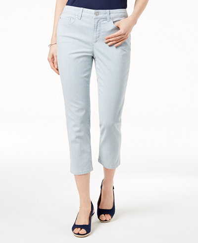 Charter Club Petite Striped Cropped Jeans, Created for Macy's