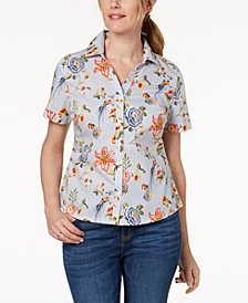 Karen Scott Petite Cotton Printed Striped Shirt, Created for Macy's