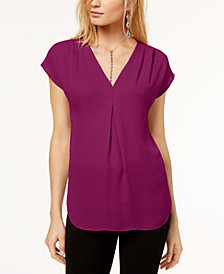 I.N.C. Inverted-Pleat V-Neck Top, Created for Macy's
