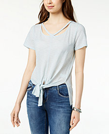 Lucky Brand Tie-Front Striped T-Shirt